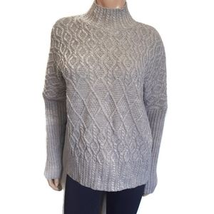 TAHARI Mock Neck Cable Knit Wool Alpaca Blend Winter Gray Pullover Sweater
